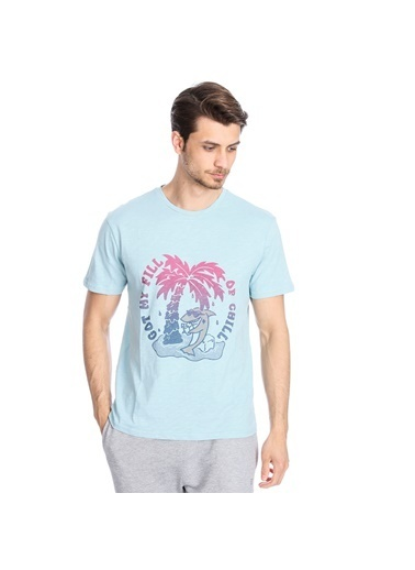 Sportive Flafill Erkek Mavi Koşu Tişört 710513-Brn Renkli